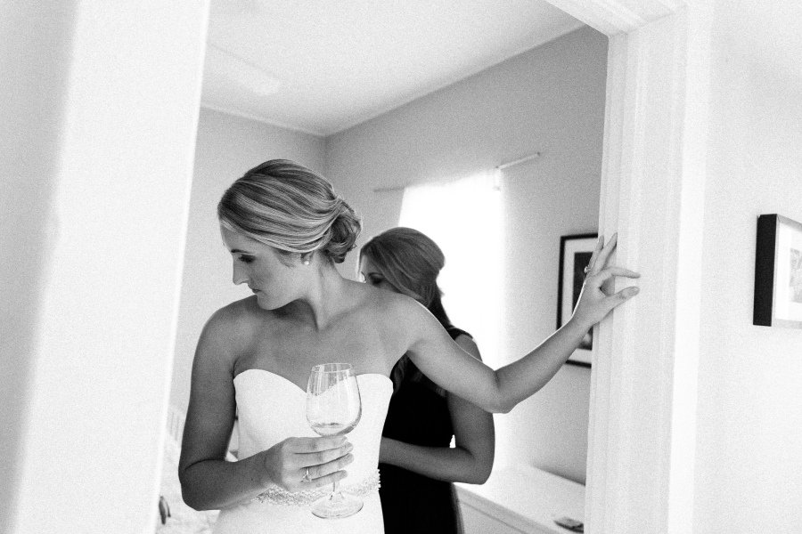 bride with champagne glass