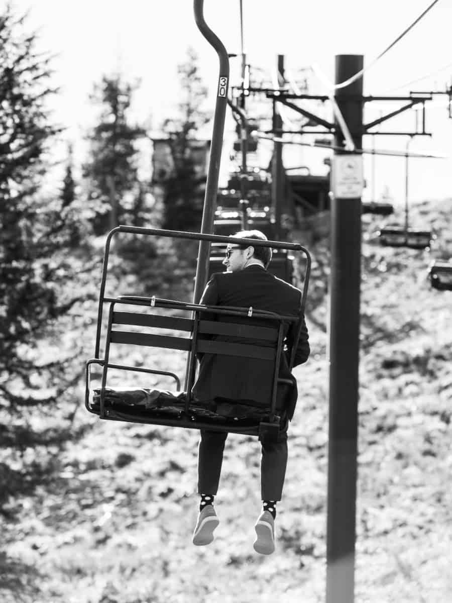 groom on skibowl chairlift