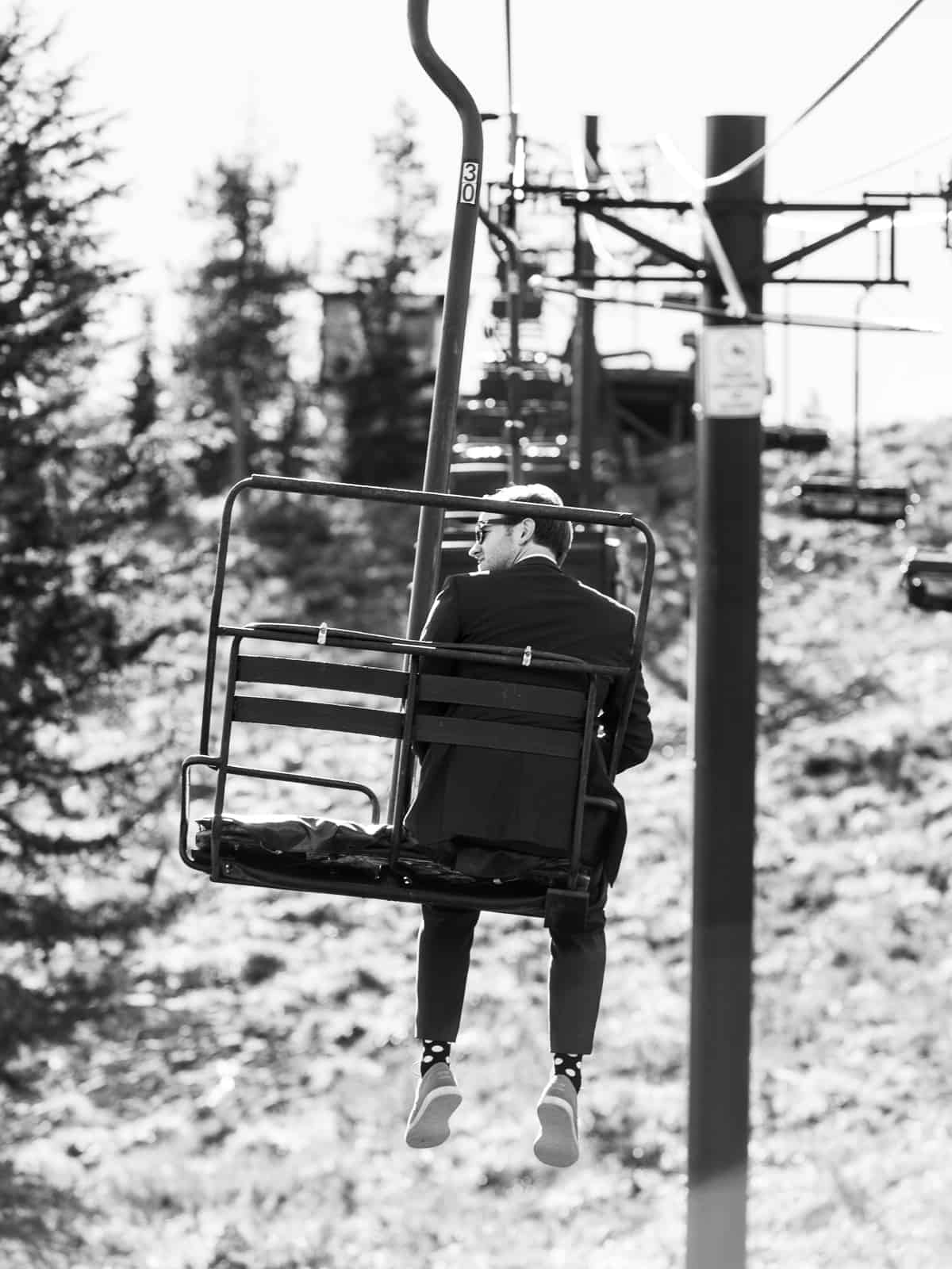 groom on skibowl chairlift