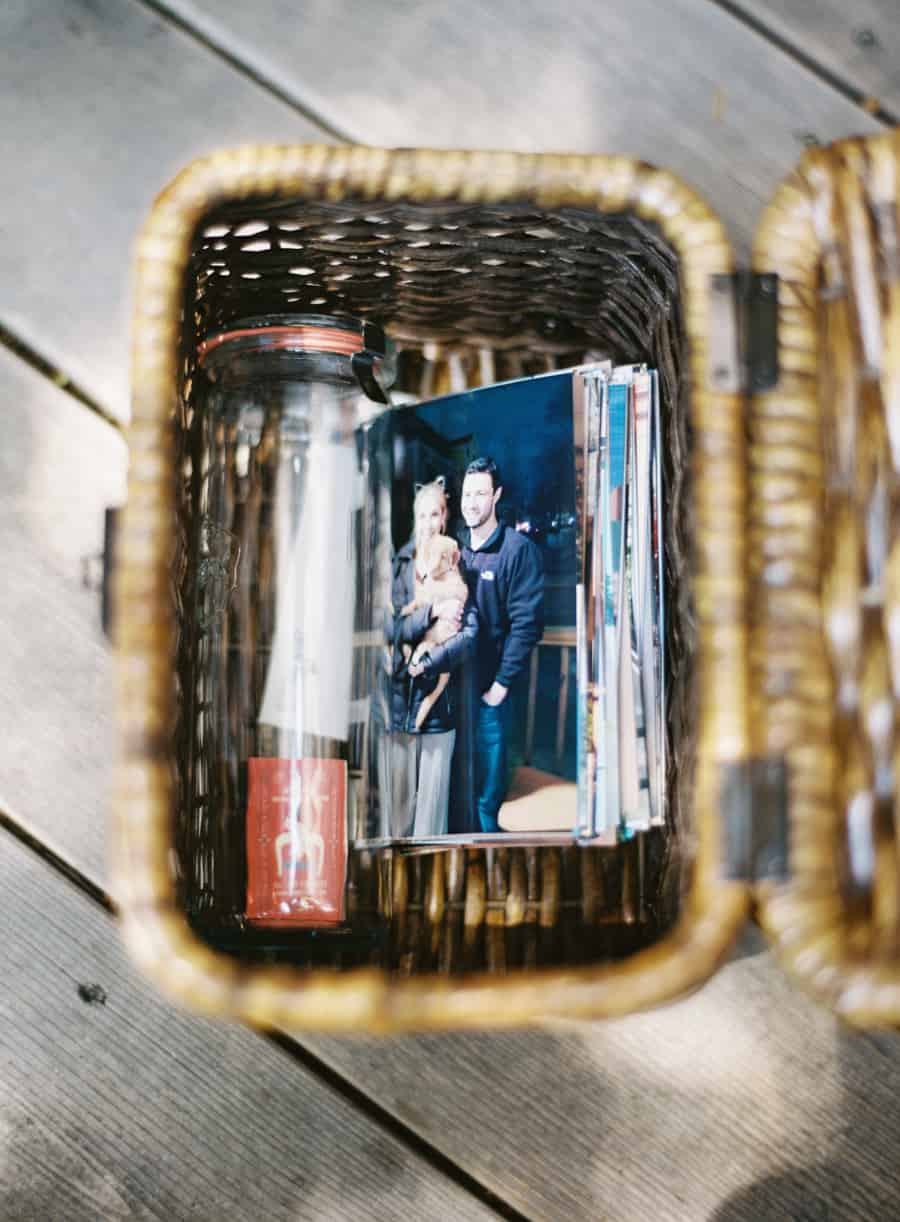 basket of photos, groom's gift to bride