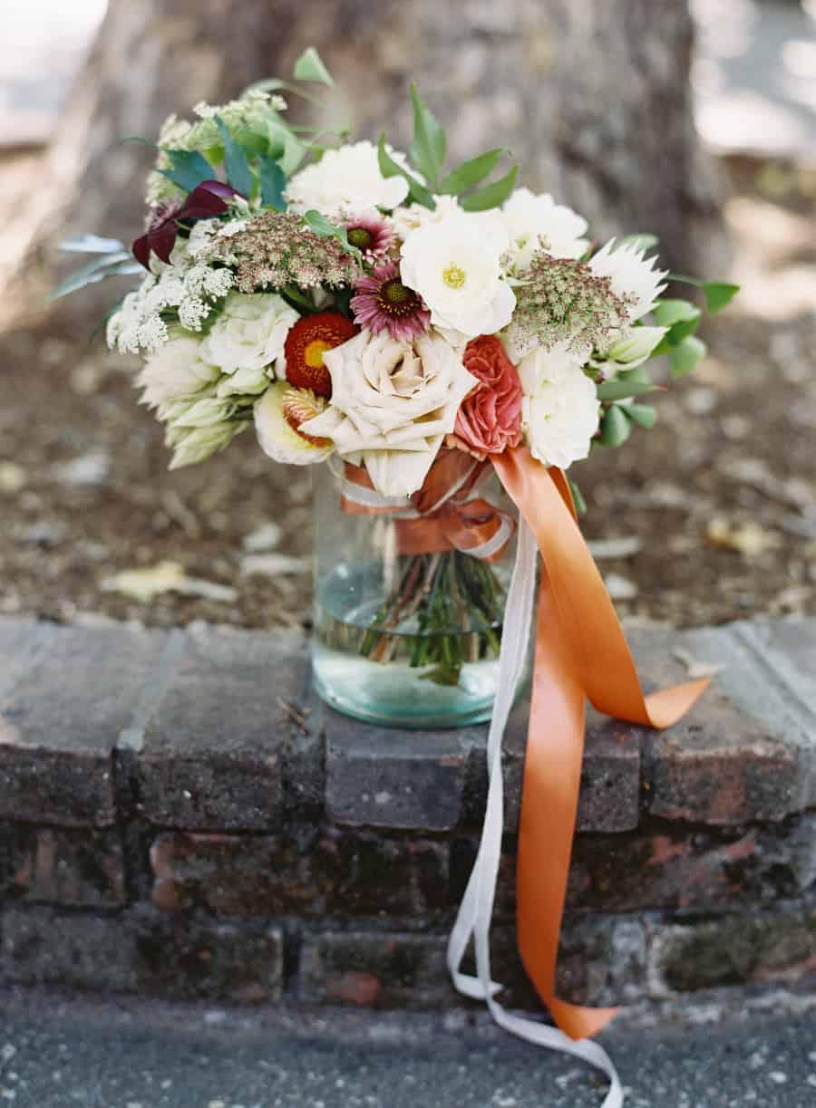 orange red white bouquet flowers