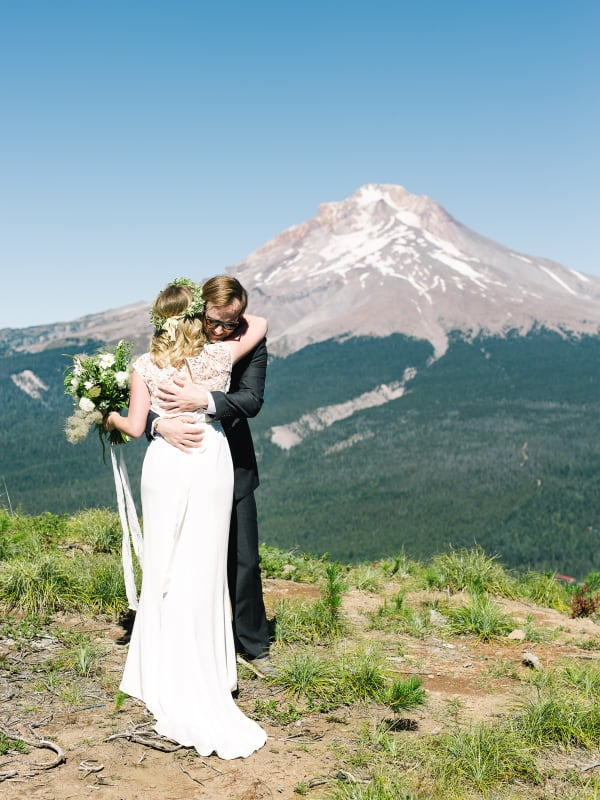 first look hug with Mt Hood in the background