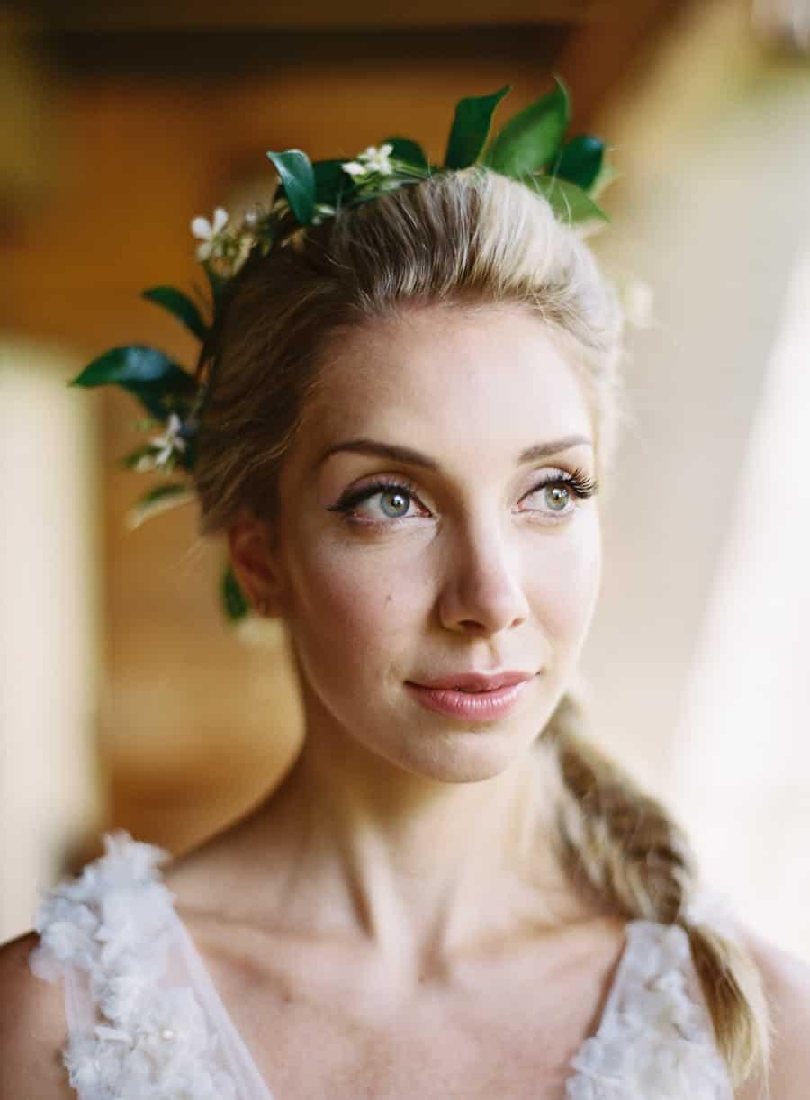 bride portrait with flower crown