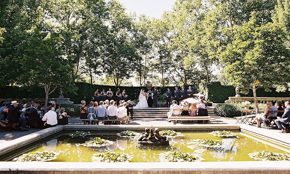 ceremony by a fountain