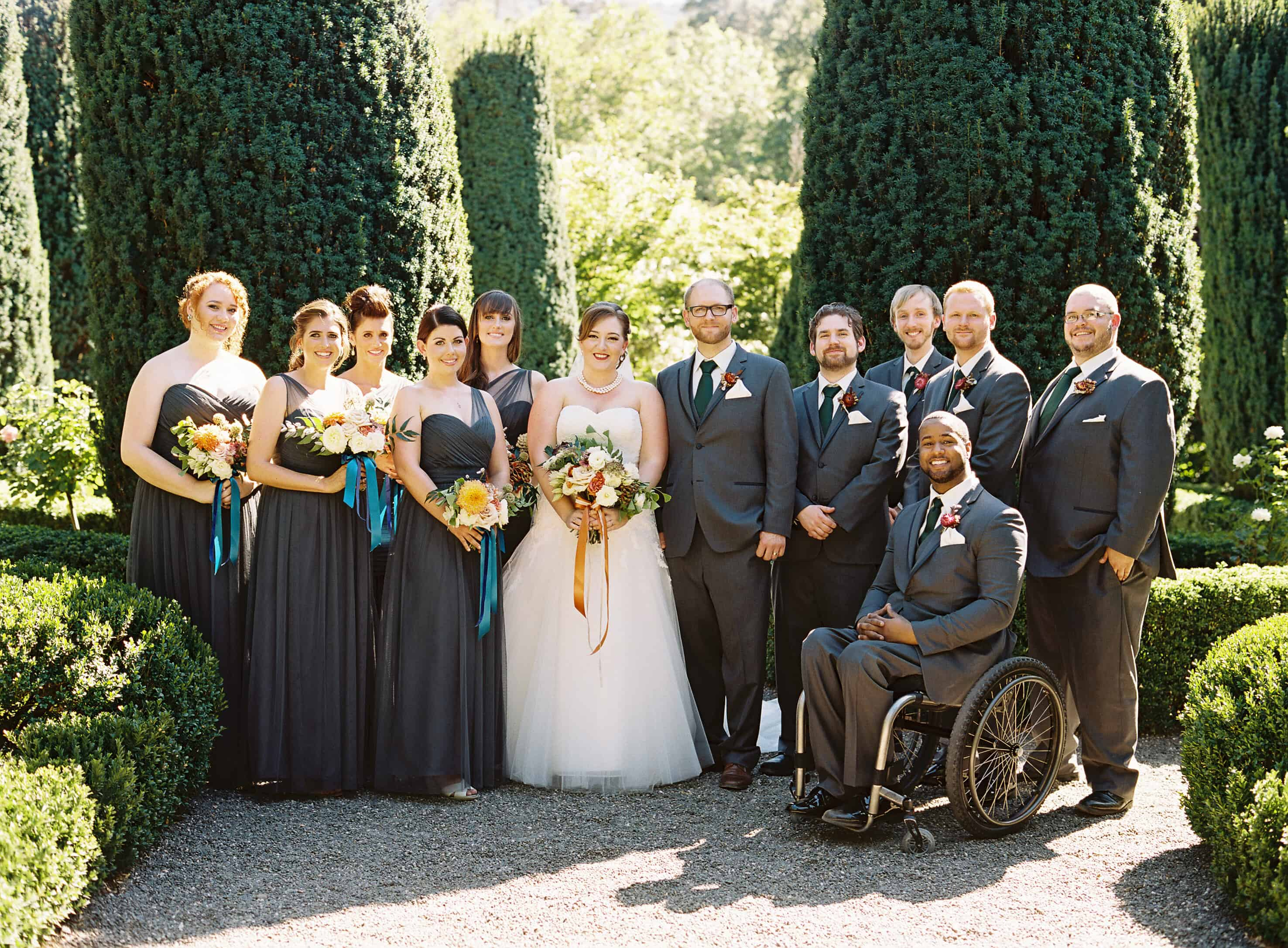 group formal portrait of wedding party