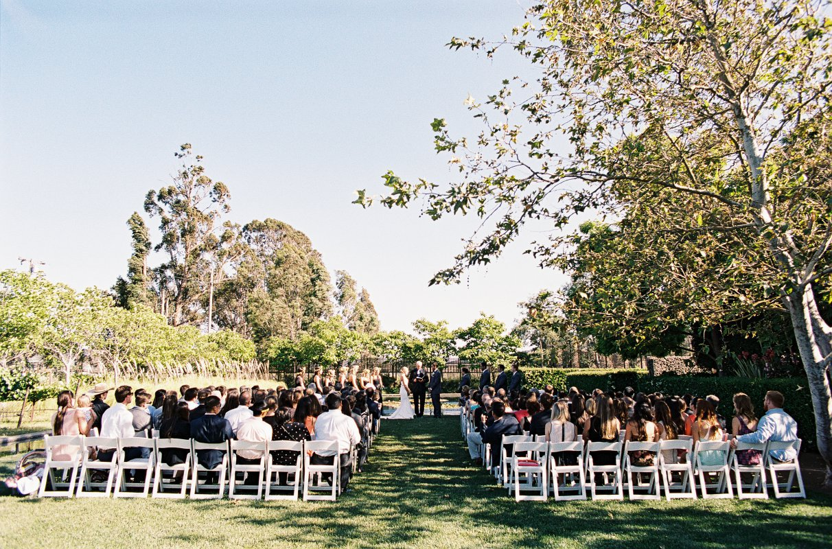 ceremony wide shot grass lawn