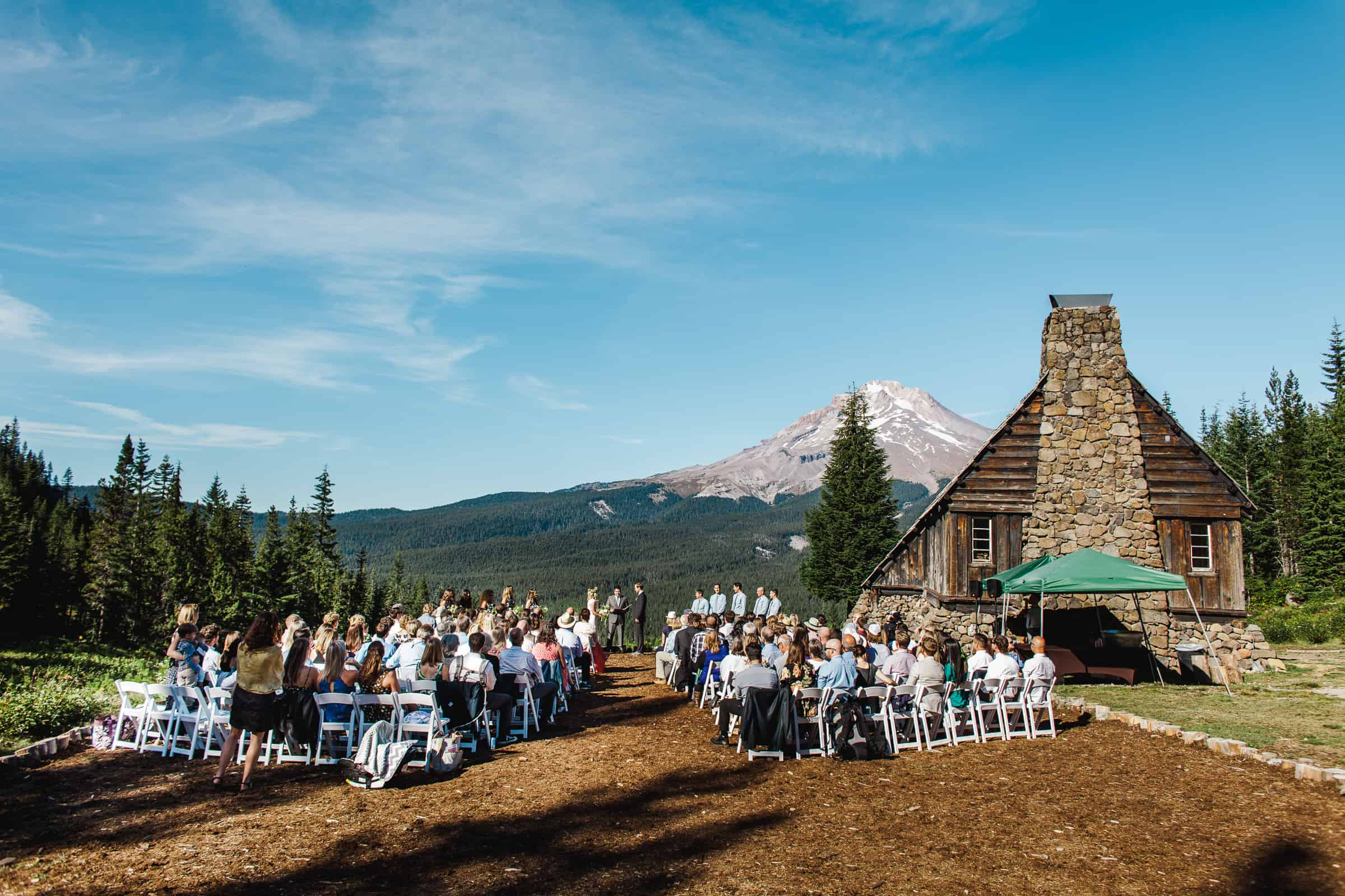 ceremony at mt hood skibowl warming hut venue near Portland