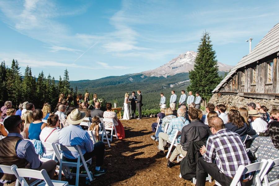 summer mountain wedding ceremony