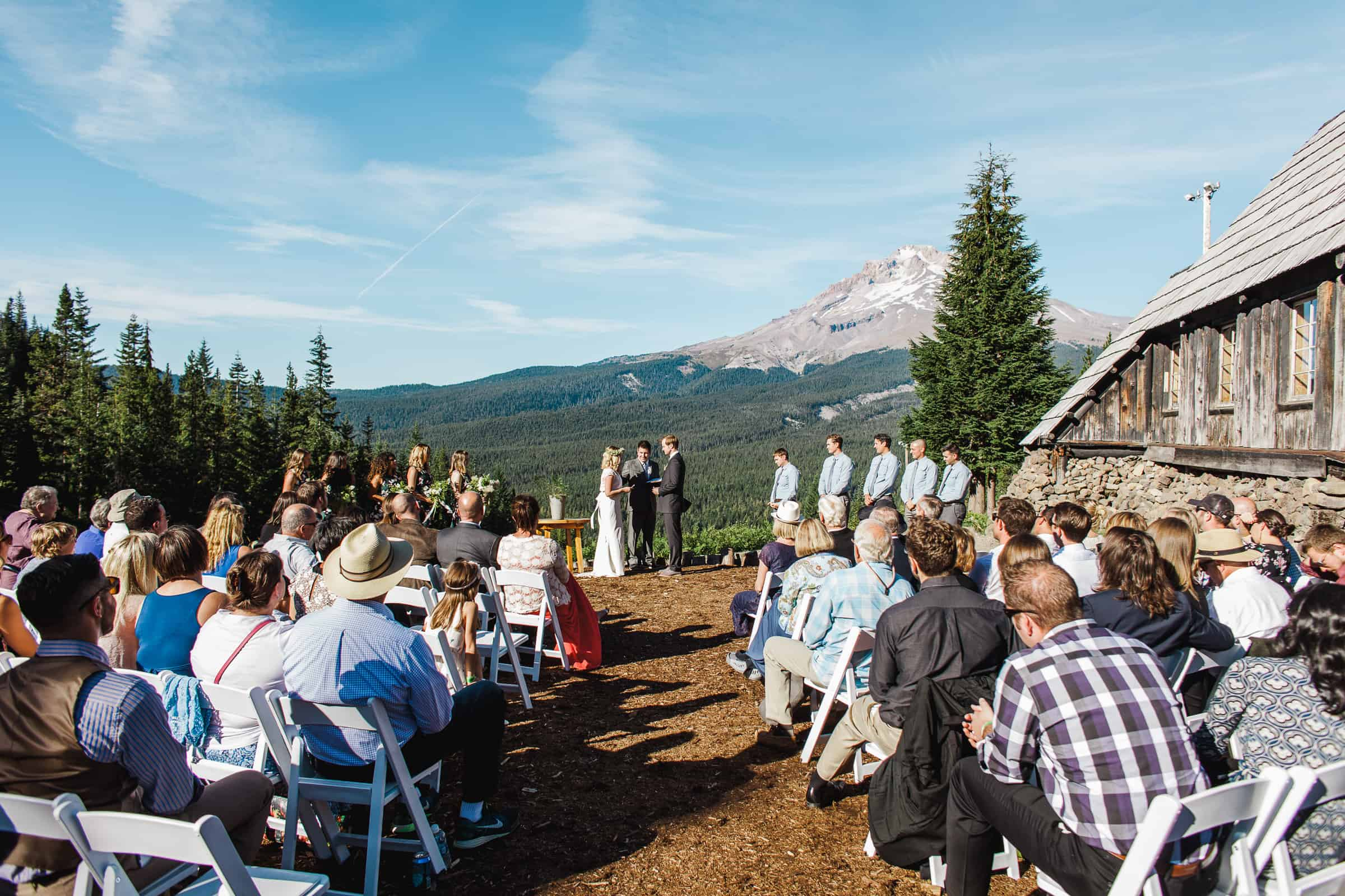 summer mountain wedding ceremony
