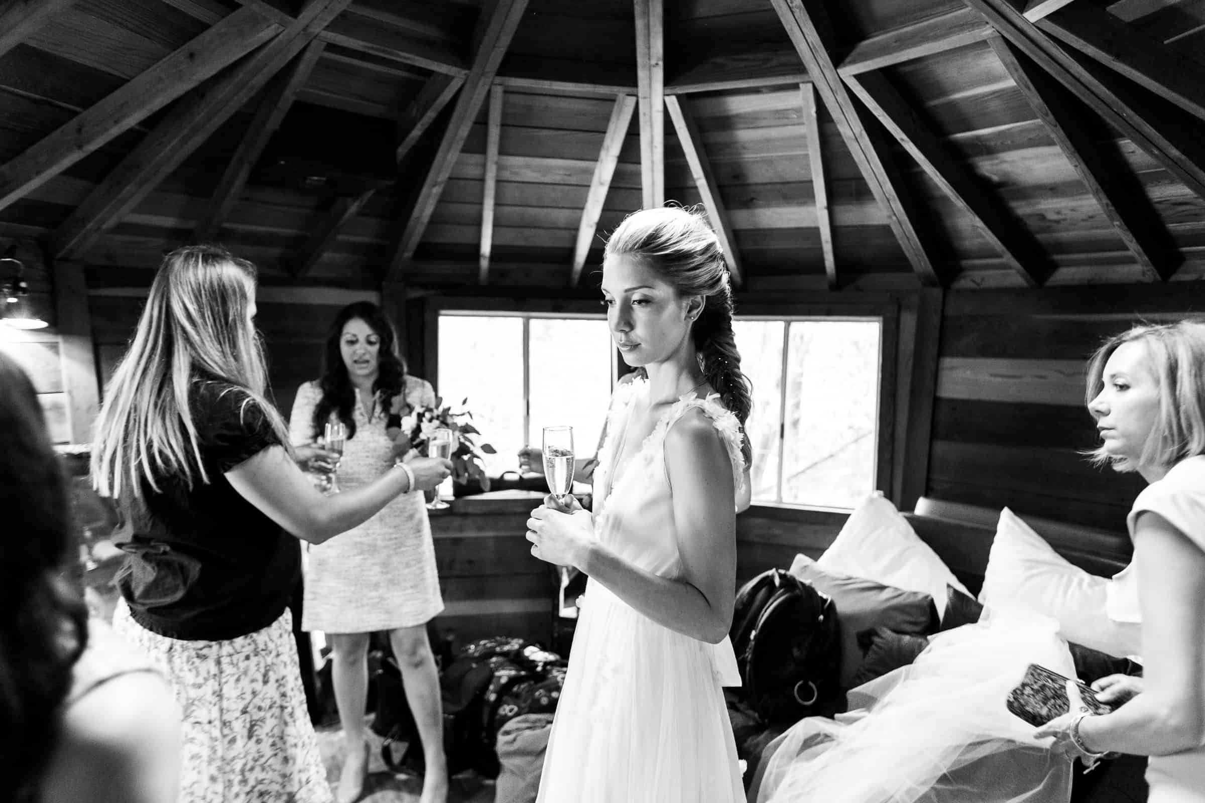 bride with bridesmaids in a yurt