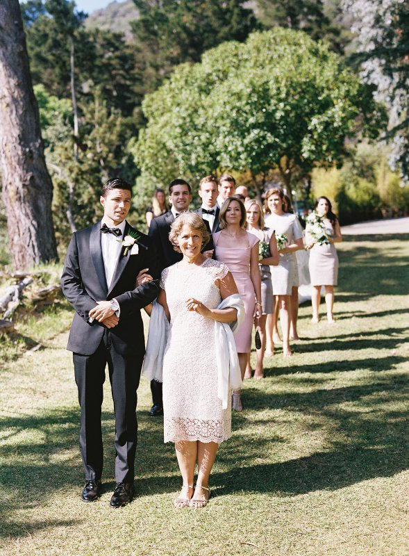 bridal party lined up before ceremony