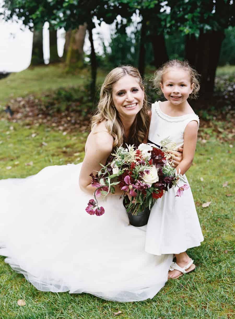 bride and flower girl portrait