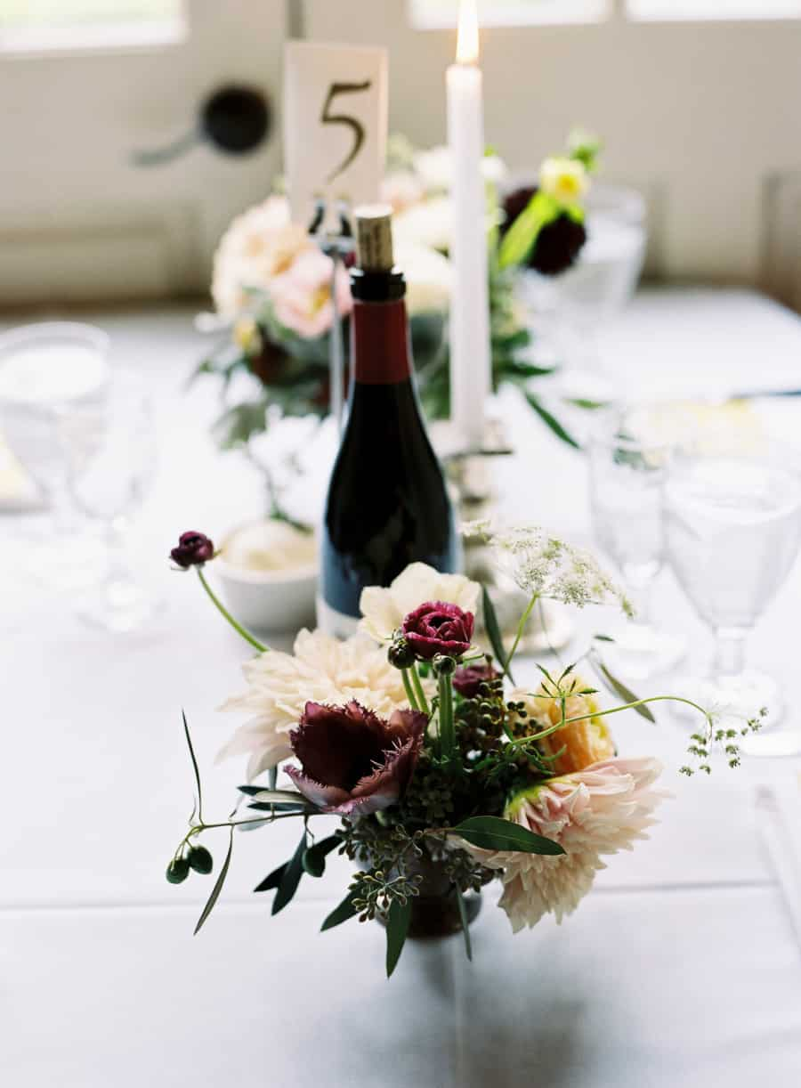 flowers and wine bottle