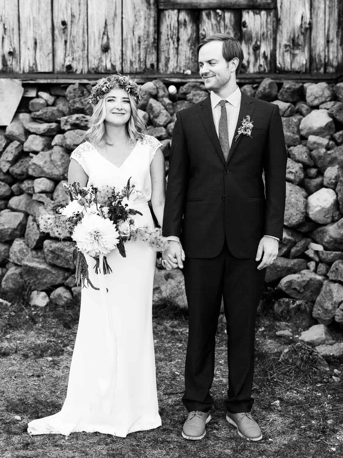 classic black and white photo of bride and groom