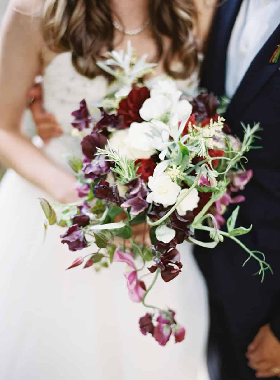 bouquet wild flowers purple white