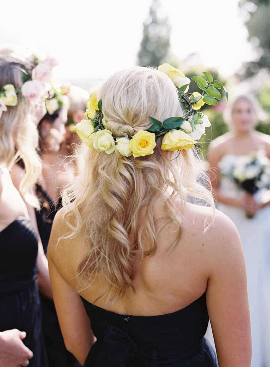 details bridesmaid flower crown