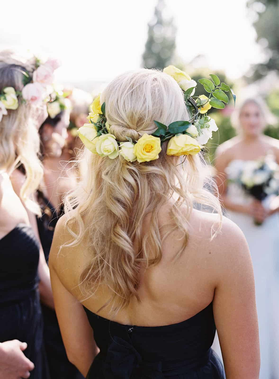 details bridesmaid flower crown