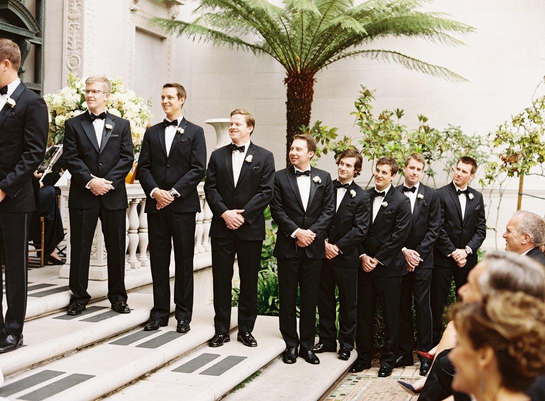 groomsmen black tie lined up
