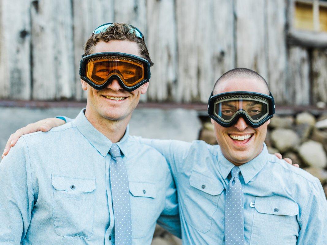 groomsmen wearing ski goggles