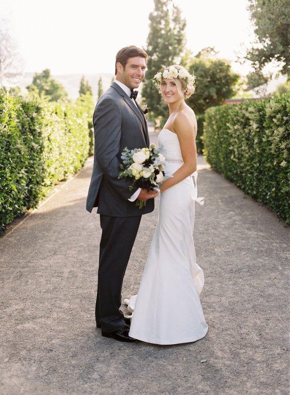 couples portrait formal on path
