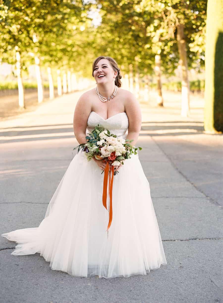 bride portrait laughing