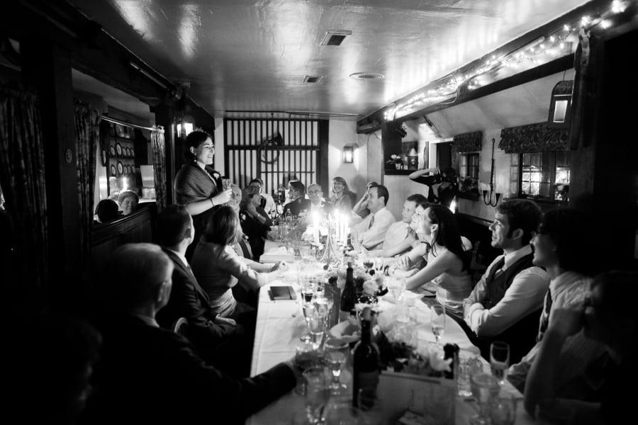 intimate dinner setting speech