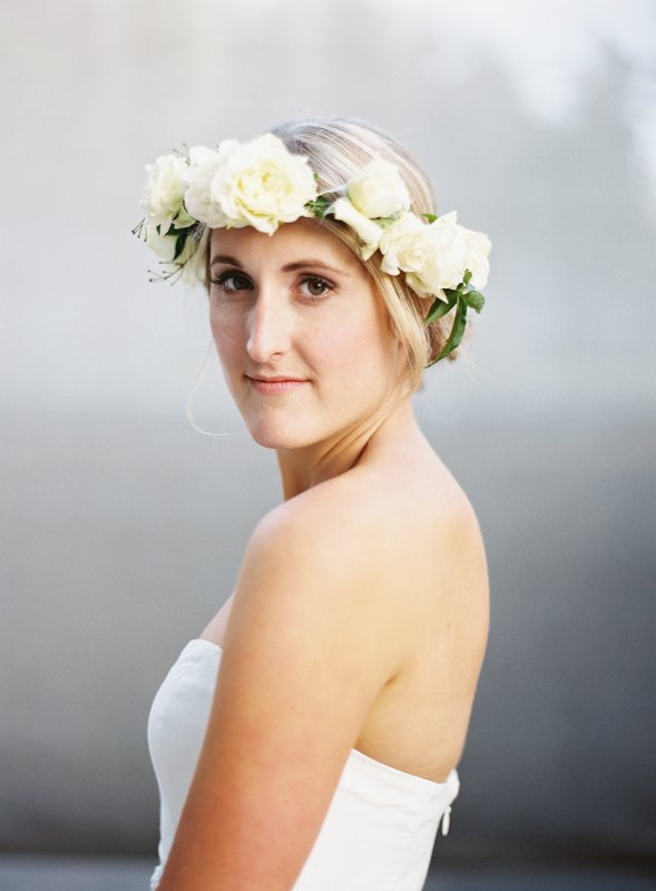 bride portrait close up flower crown