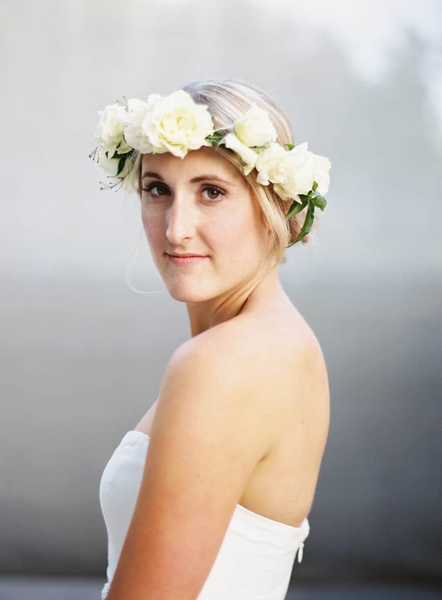bride portrait close up flower crown