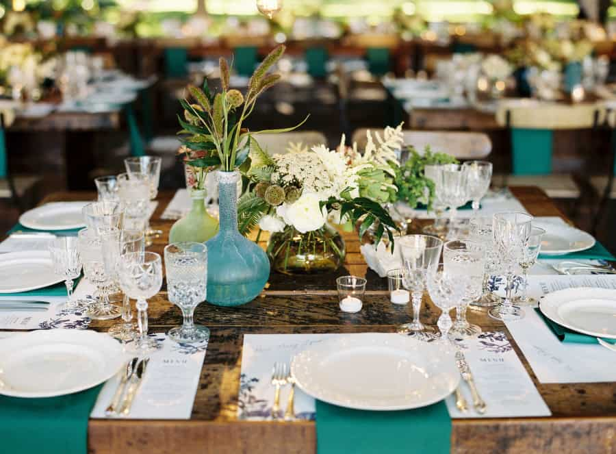 table setting with cut crystal glassware