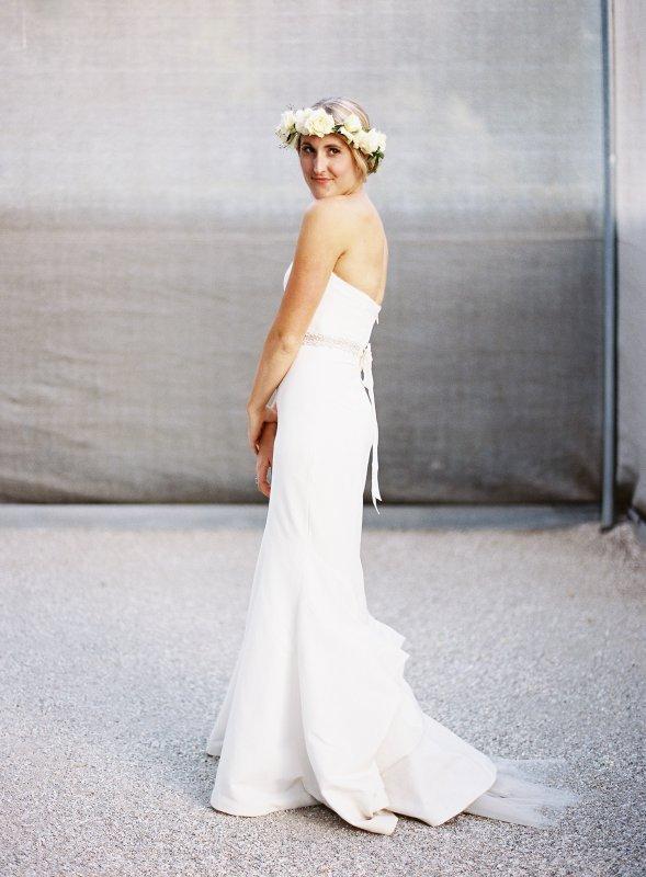 bride portrait full body flower crown
