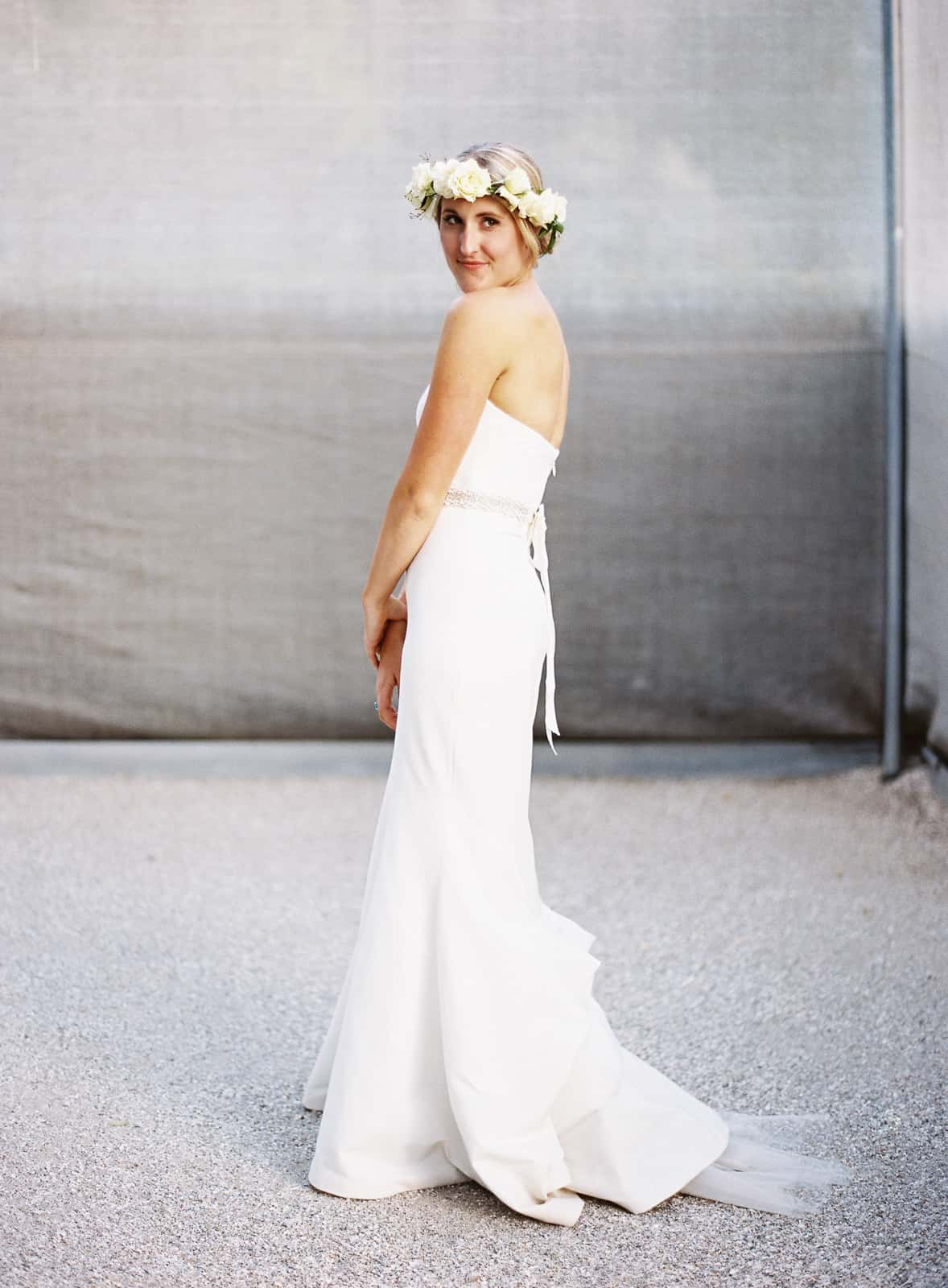 bride portrait full body flower crown