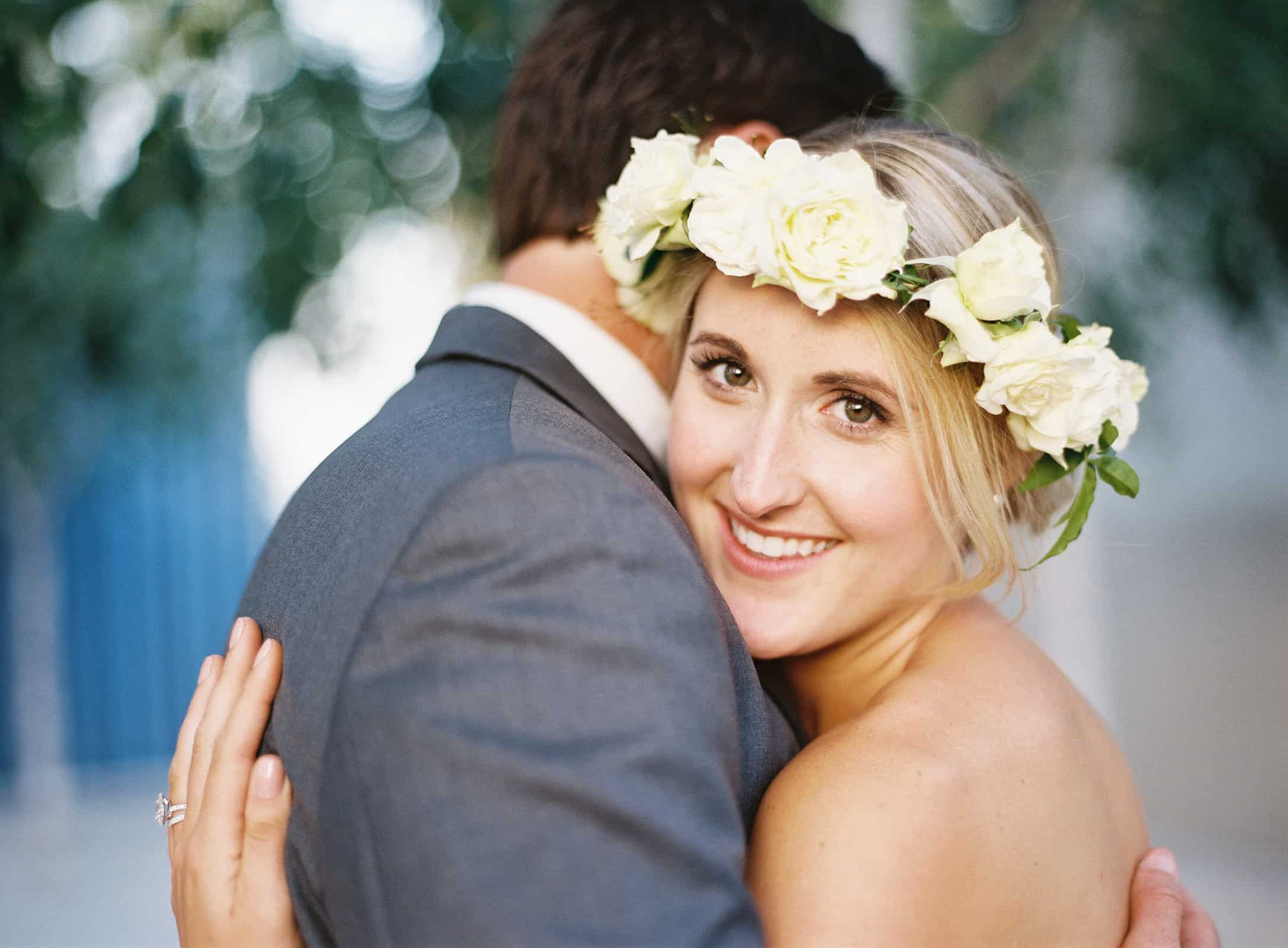 couples portrait hugging flower crown