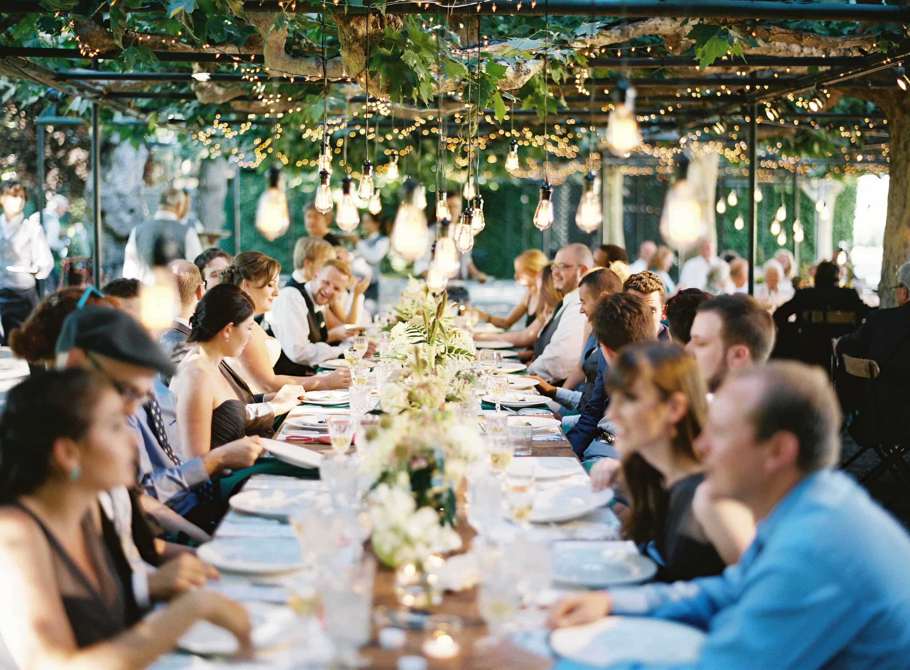 long table with hangin lights