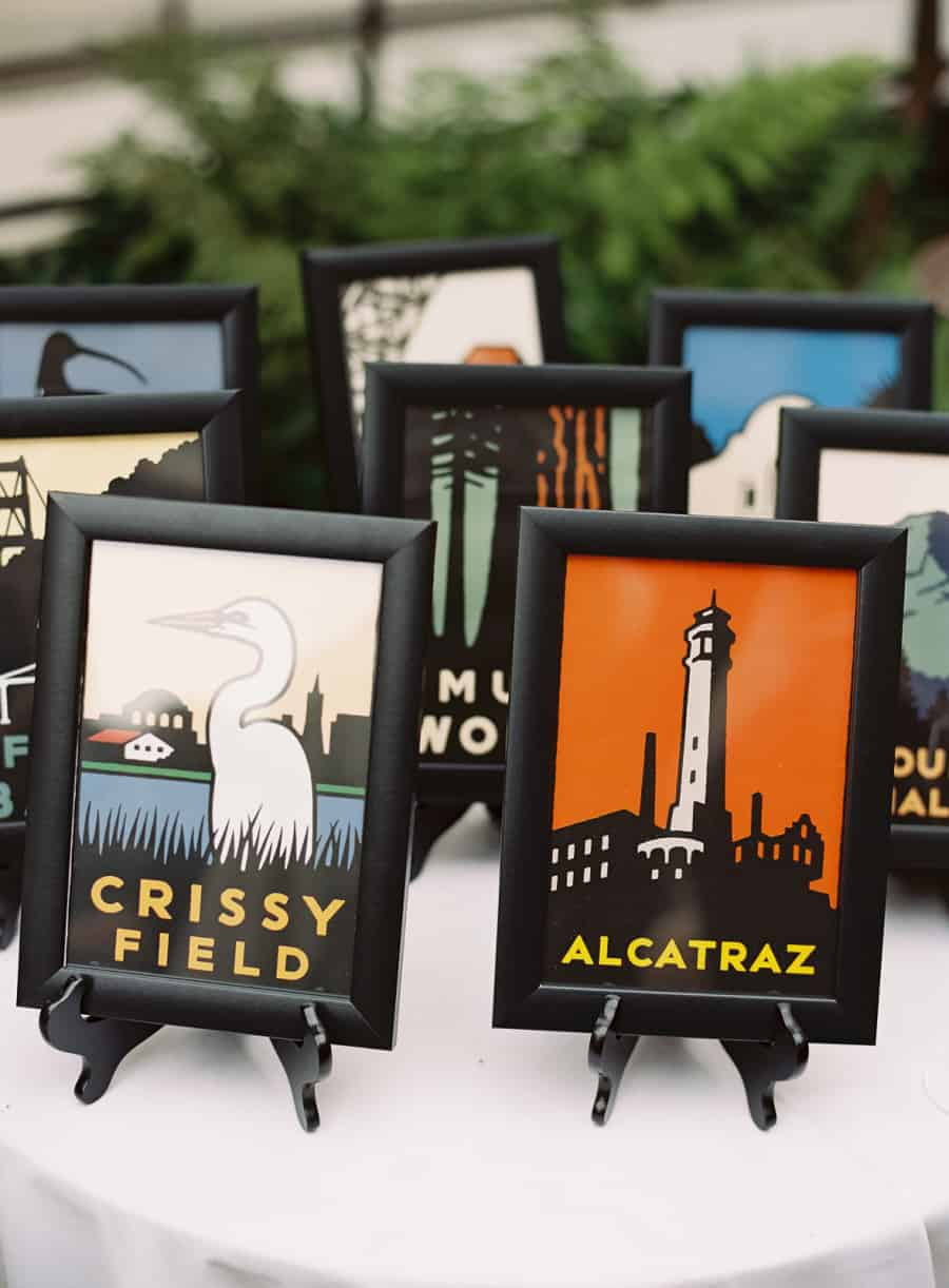 chrissy field and alcatraz illustrated table number art