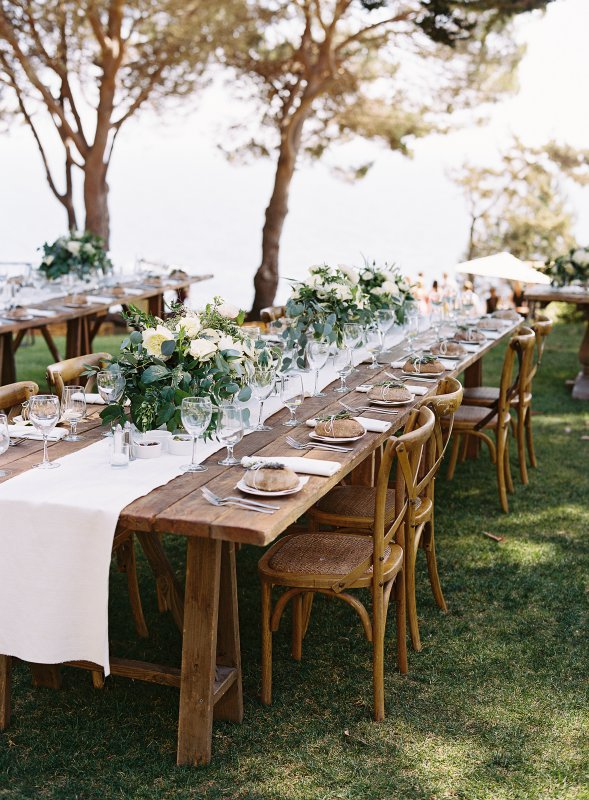 rustic green and white dinner table setting