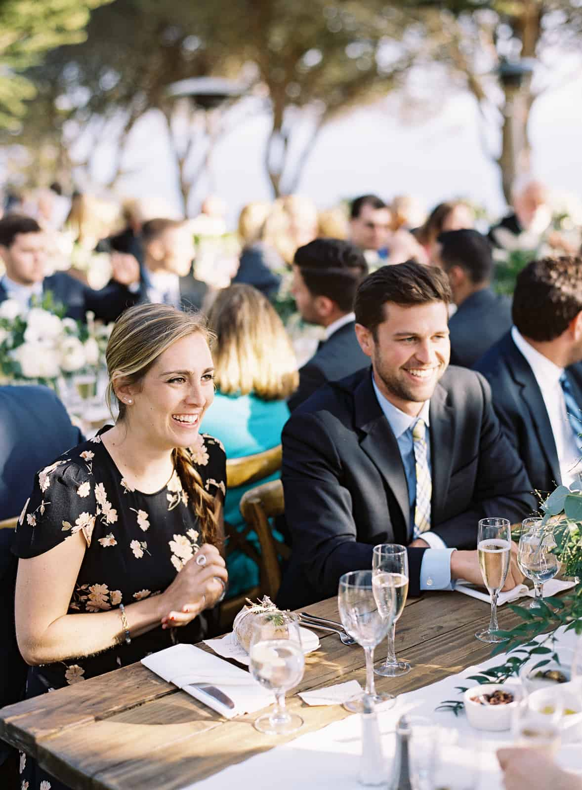 guests seated at dinner table