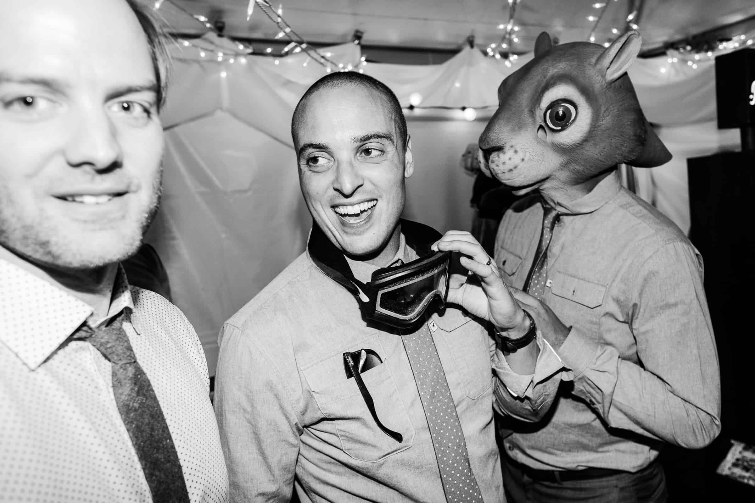 funny groomsmen in animal mask