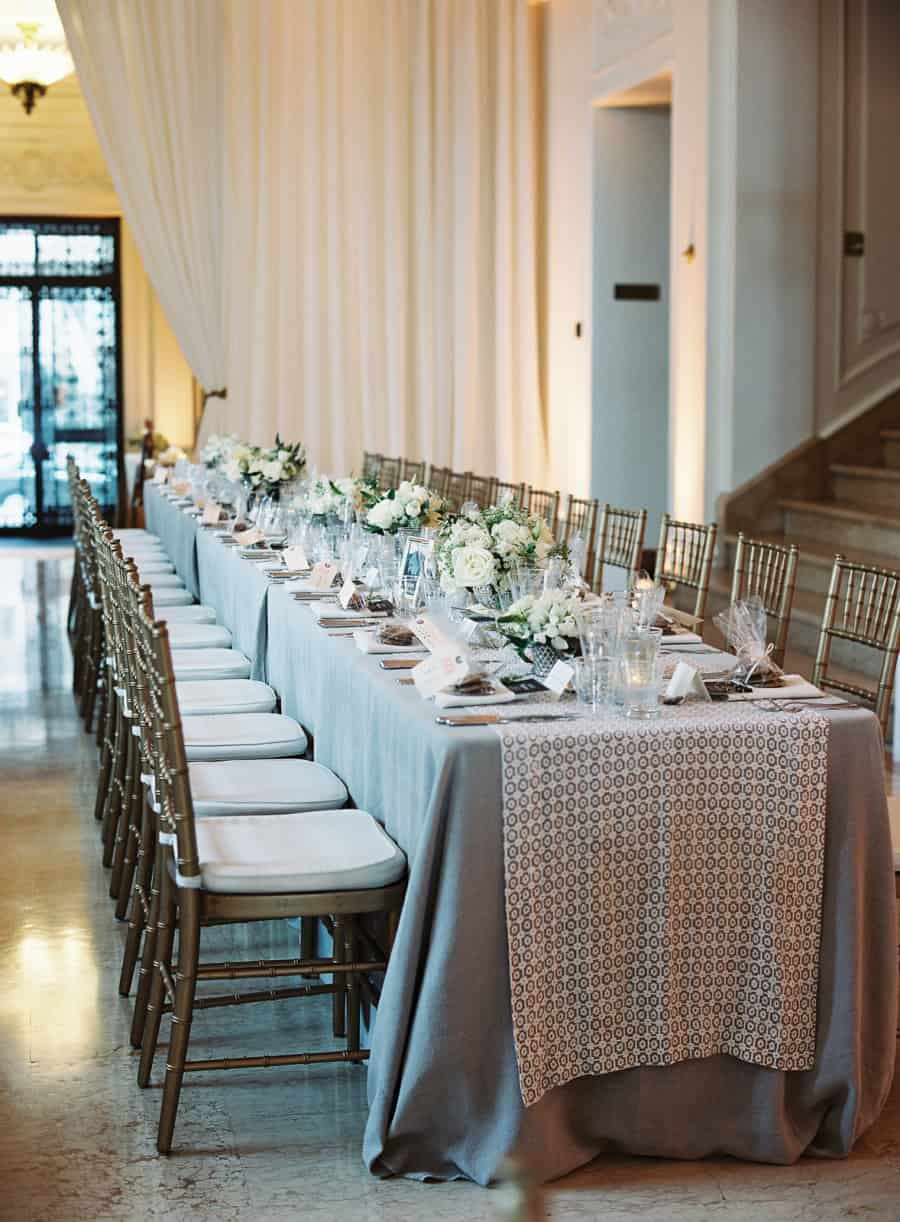 long dining table gray silver white and gold