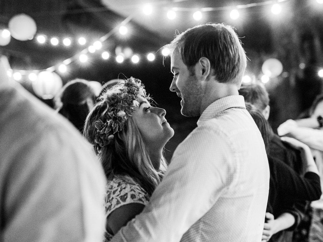bride and groom enjoying last dance