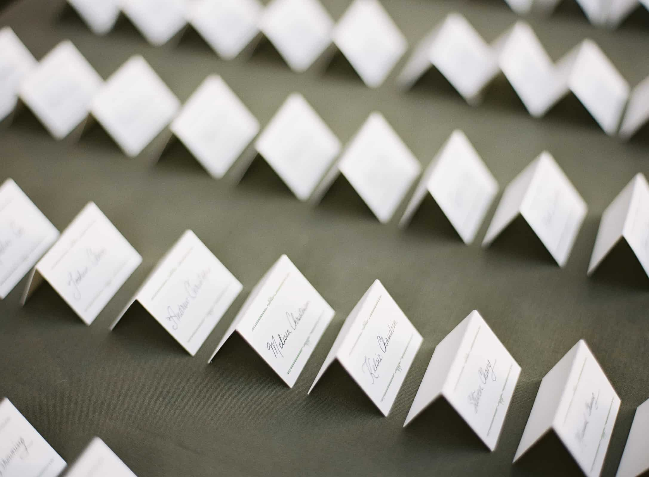 folded white place cards