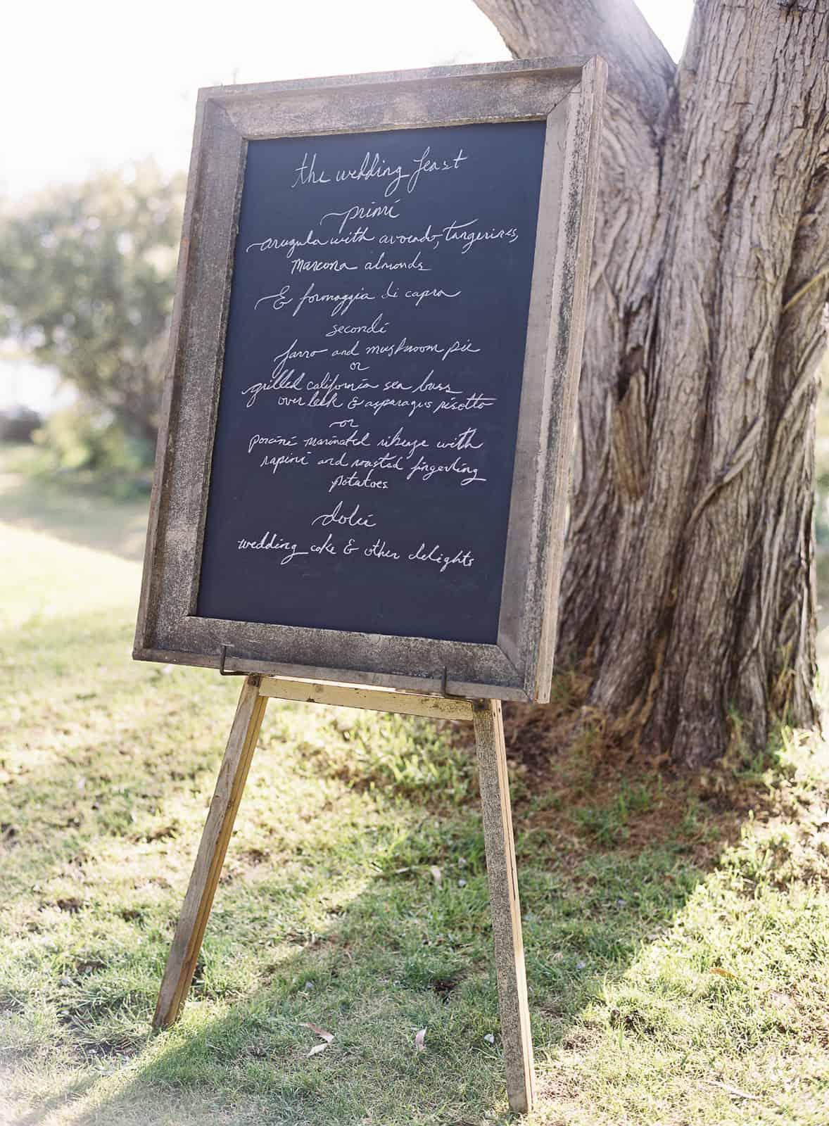 menu chalkboard on an easel