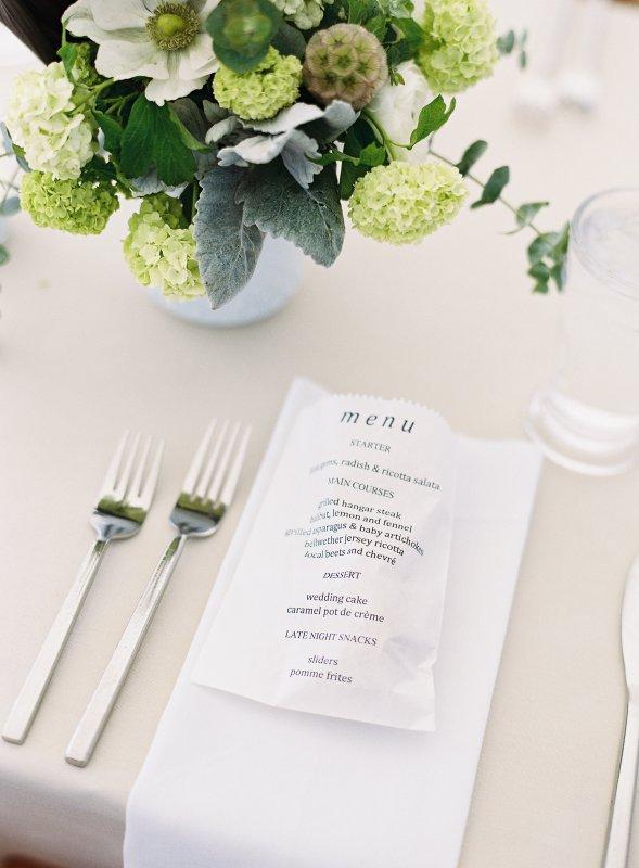 wedding dinner menu paper bag