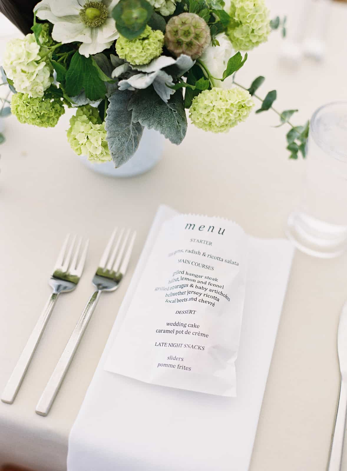 wedding dinner menu paper bag