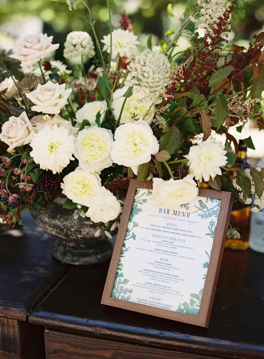 bar menu and floral arrangement