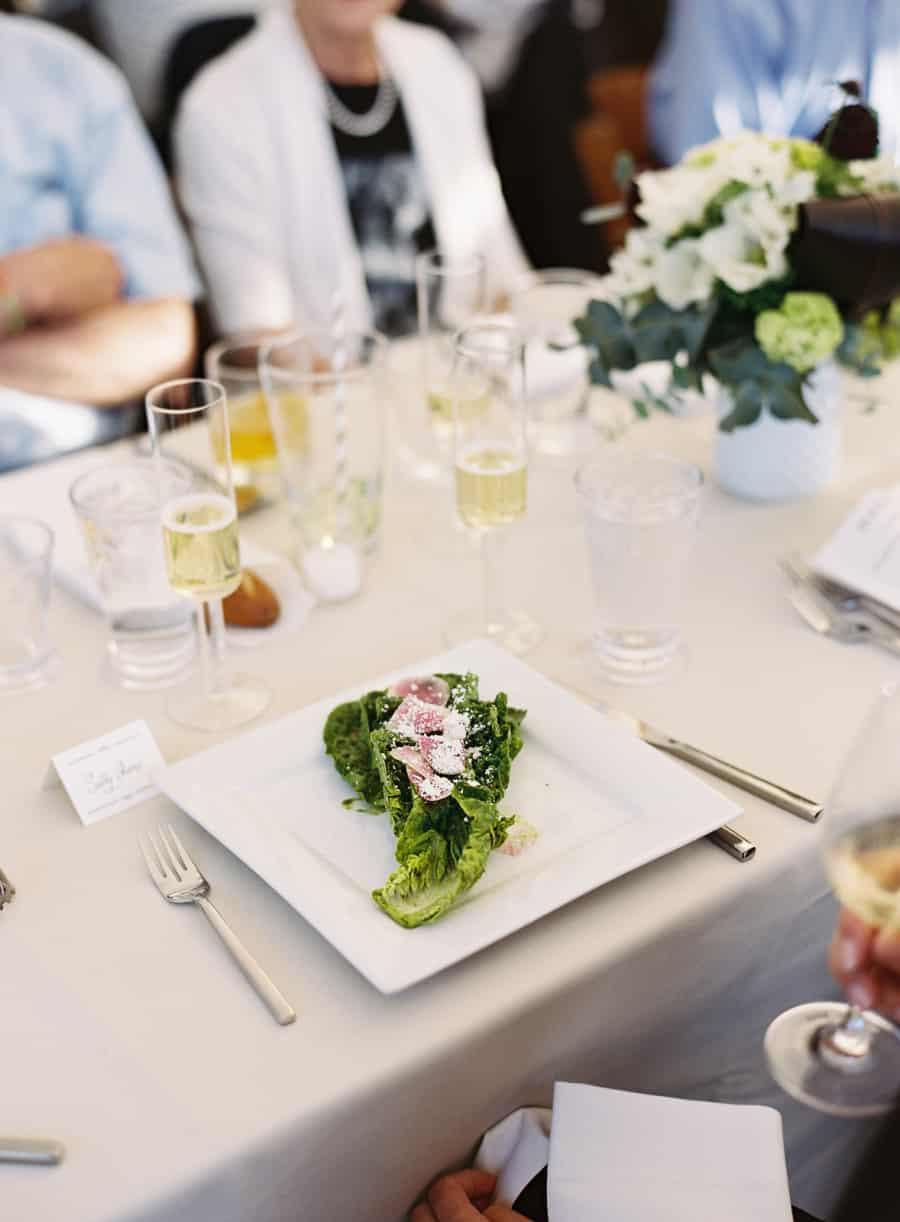 wedding dinner salad with rainbow radish