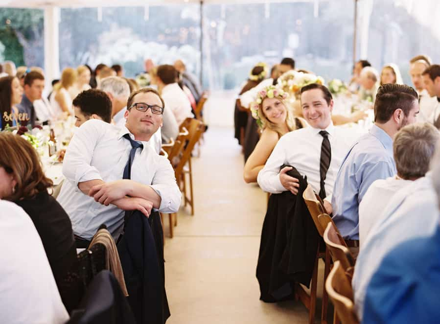 wedding dinner guests posing