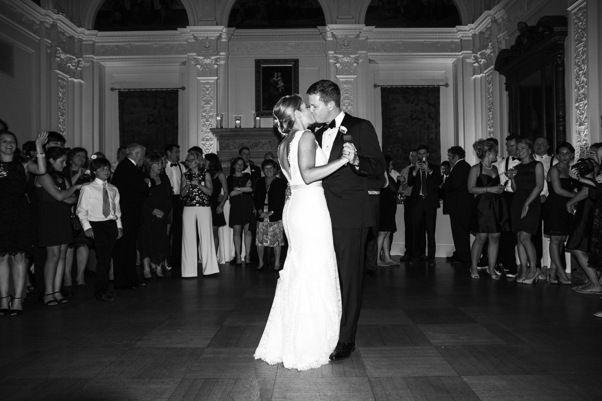 first dance kiss in black tie