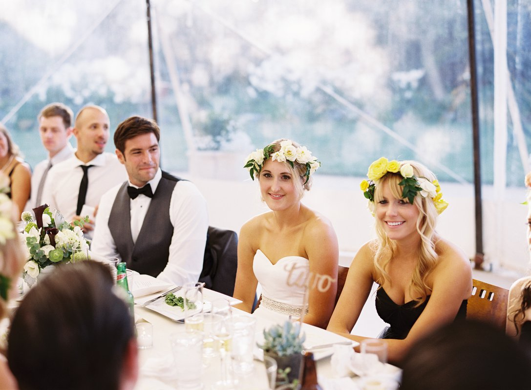 bride and groom at head table