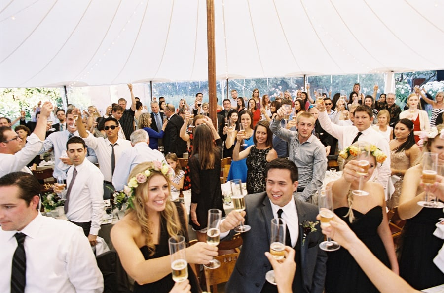 all guests giving a champagne toast