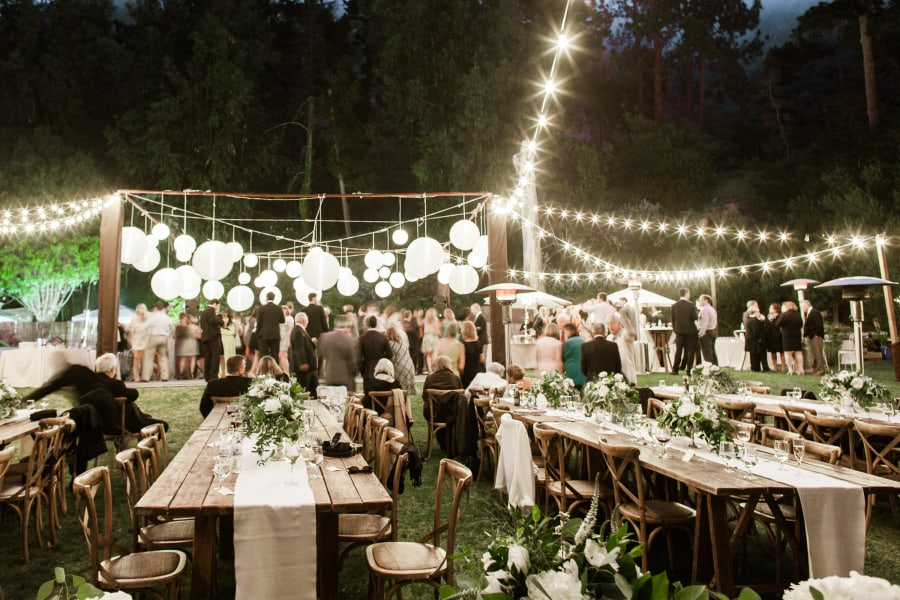outdoor dance floor and dining tables